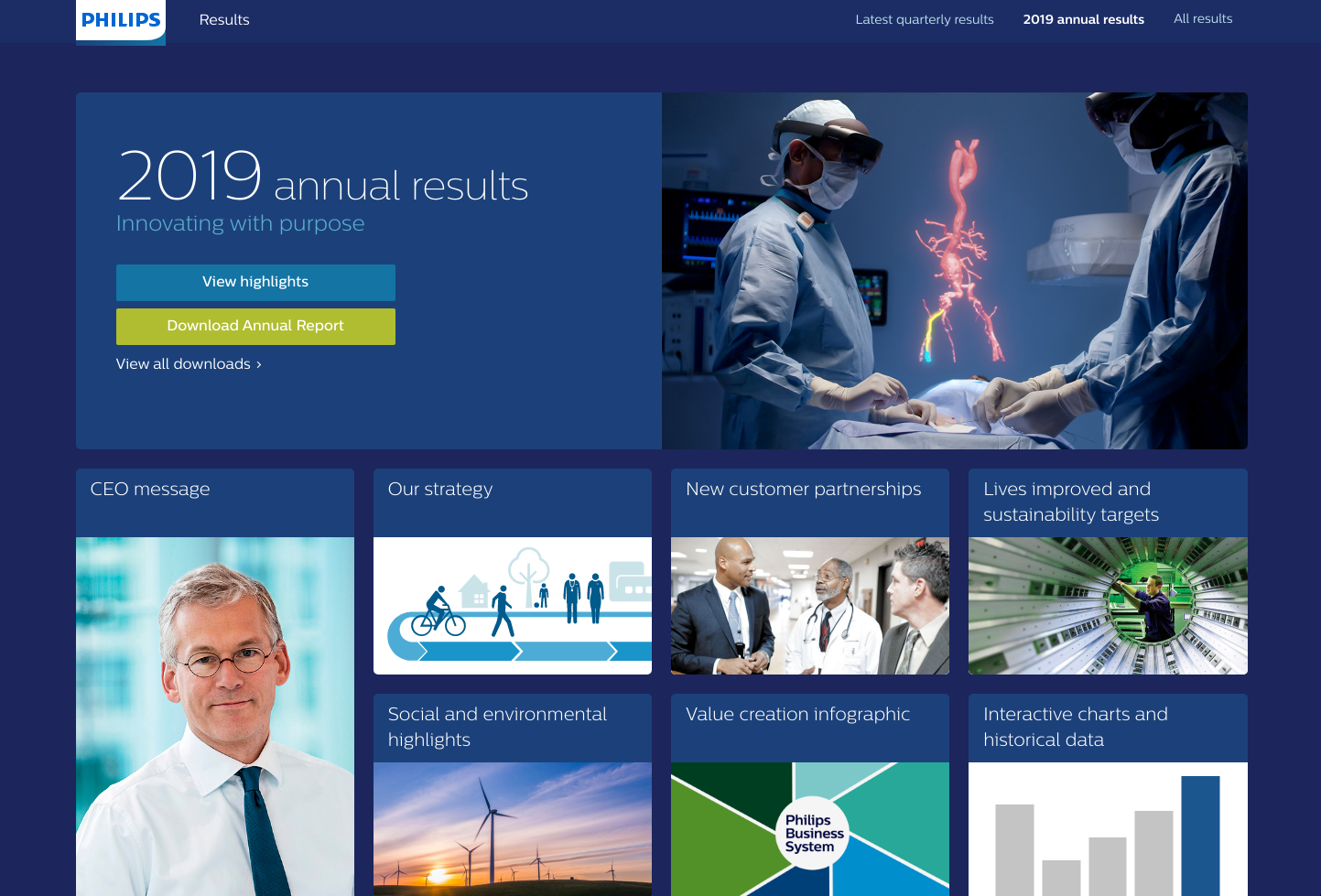 Philips resultshub website